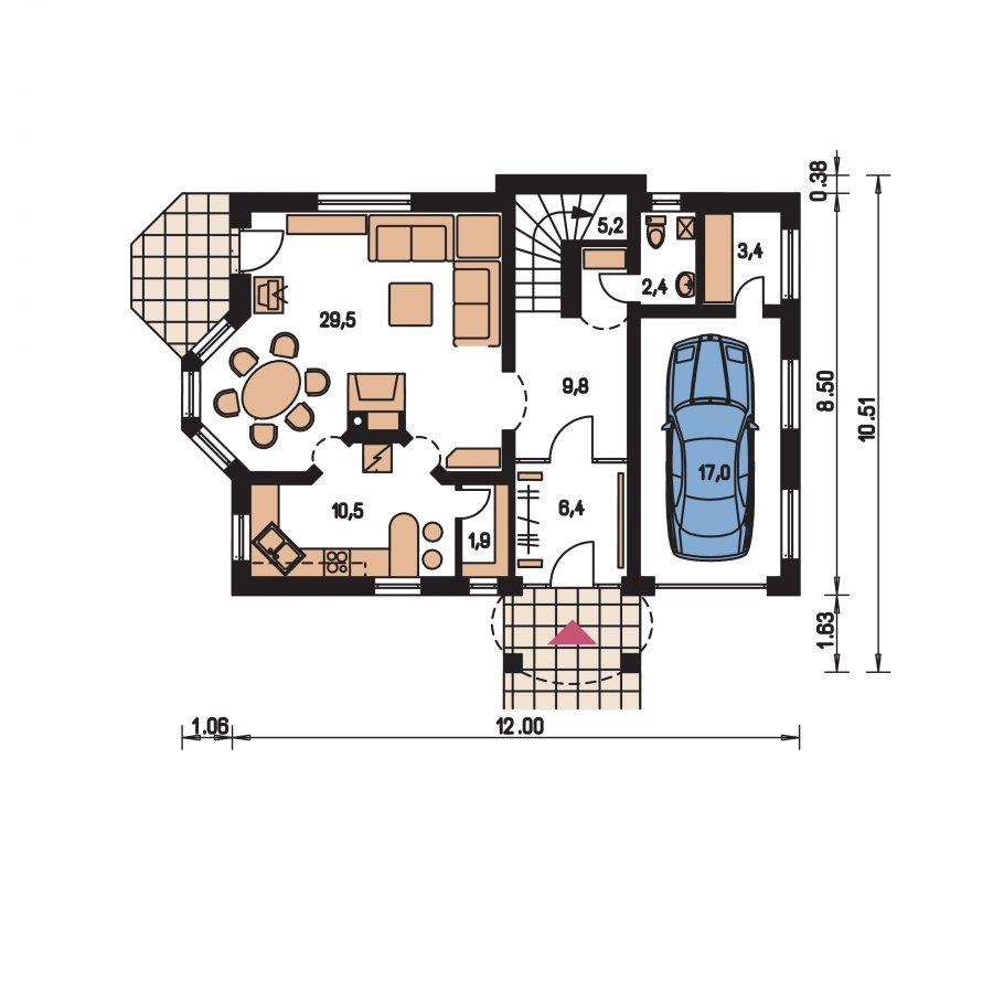 Pôdorys Prízemia - Zaujímavý dom s podkrovím