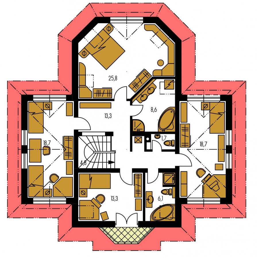 Pôdorys Poschodia - Veľký dom podkrovný
