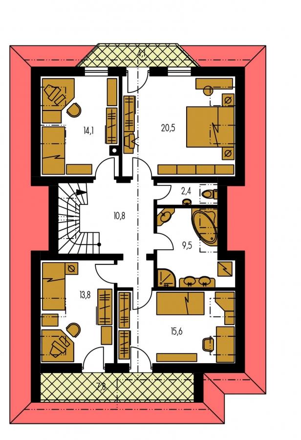 Pôdorys Poschodia - Zaujímavý projekt rodinného domu.