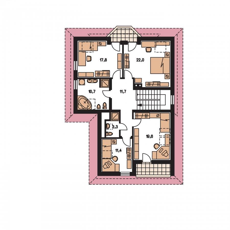 Pôdorys Poschodia - Väčší dom s obytným podkrovím