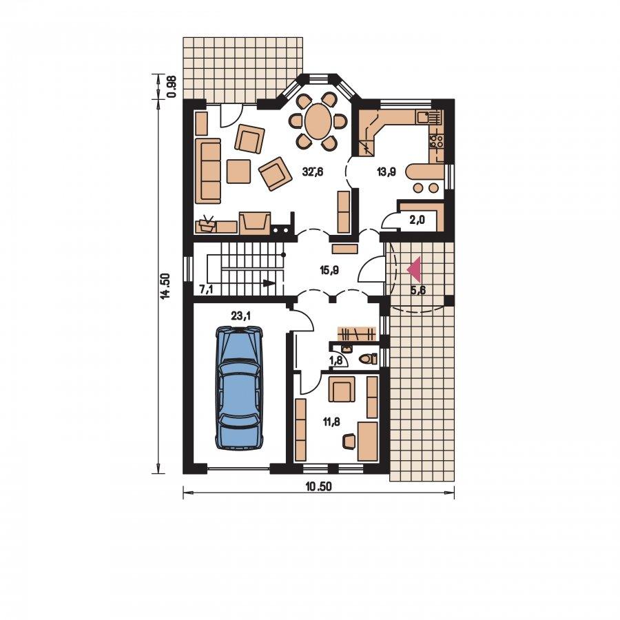Pôdorys Prízemia - Väčší dom s obytným podkrovím
