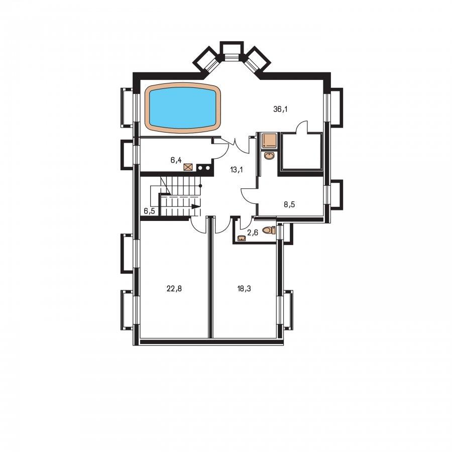 Pôdorys Suterénu - Väčší dom s obytným podkrovím