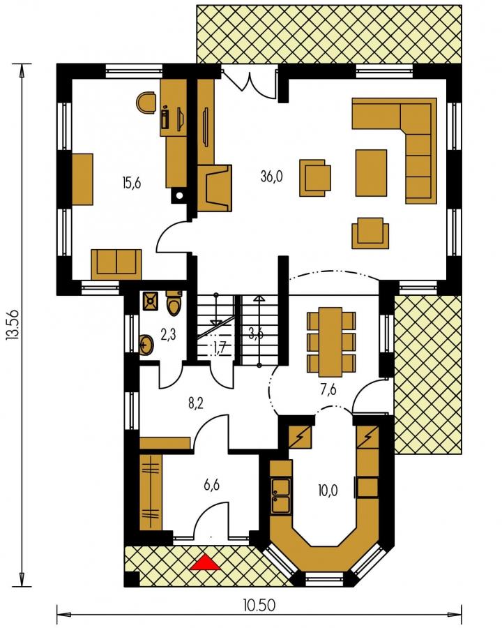 Pôdorys Prízemia - Výškovo posunuté trakty rodinného domu s izbou na prízemí.