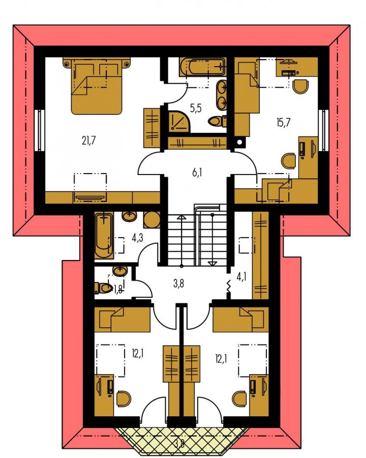 Pôdorys Poschodia - Výškovo posunuté trakty rodinného domu s izbou na prízemí.