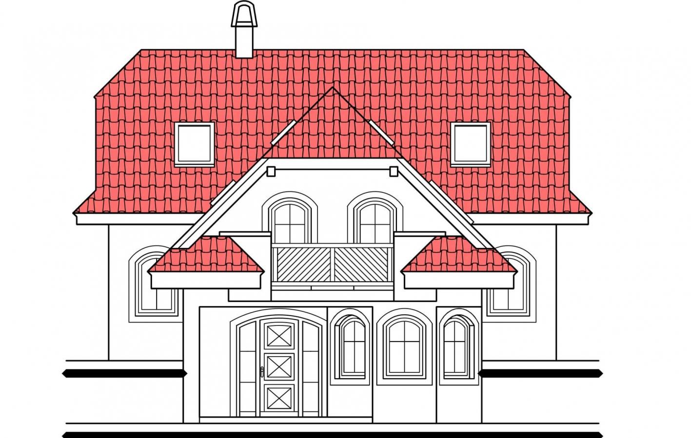 Pohľad 1. - Výškovo posunuté trakty rodinného domu s izbou na prízemí.