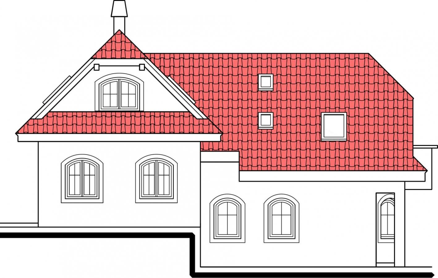 Pohľad 2. - Výškovo posunuté trakty rodinného domu s izbou na prízemí.