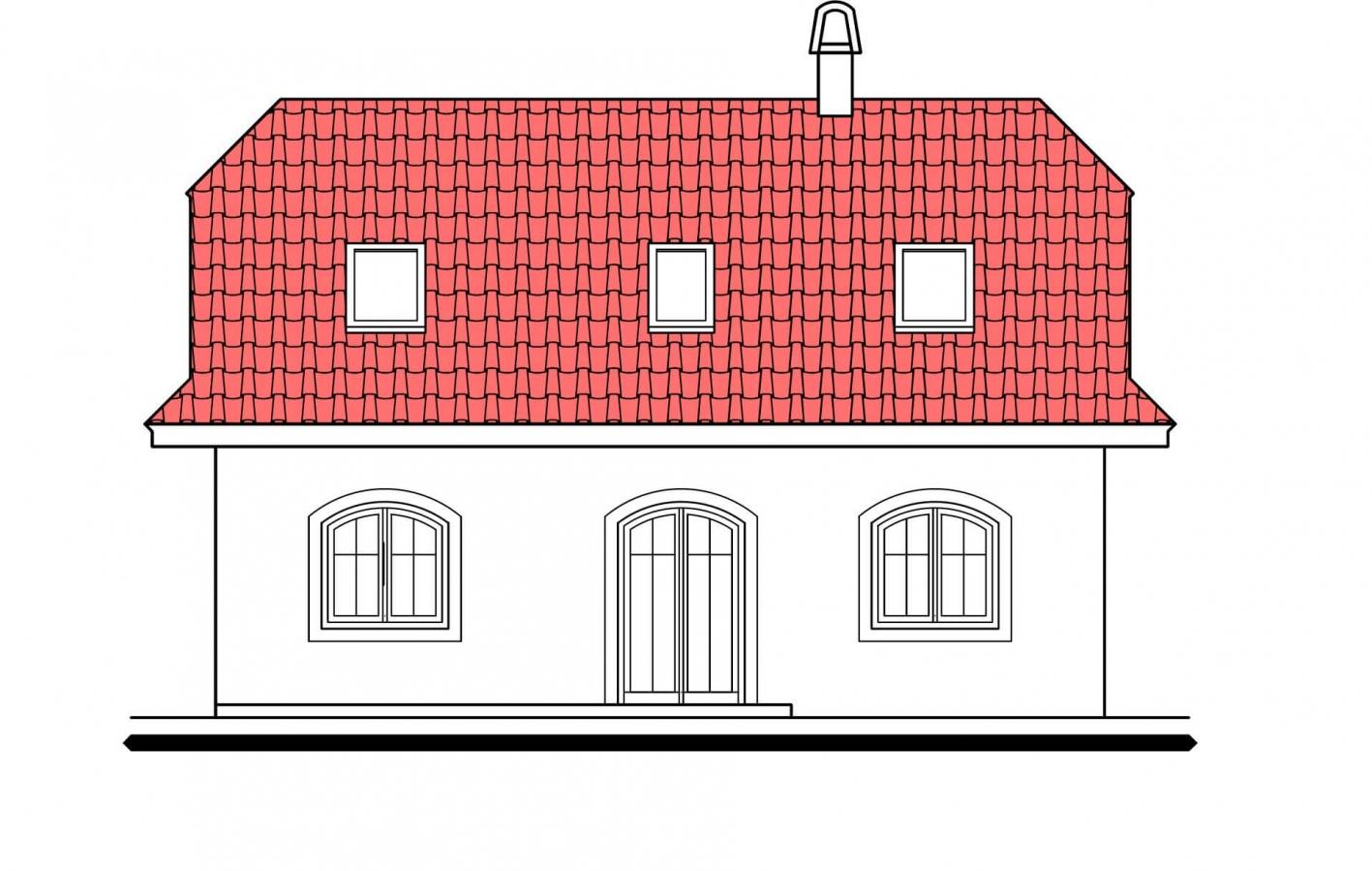 Pohľad 3. - Výškovo posunuté trakty rodinného domu s izbou na prízemí.