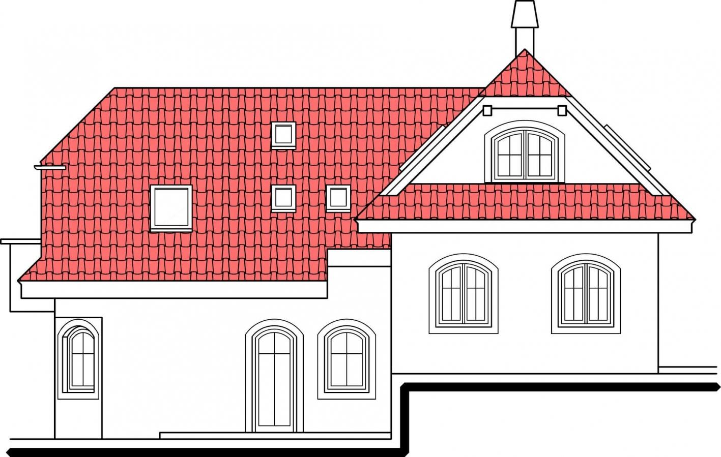 Pohľad 4. - Výškovo posunuté trakty rodinného domu s izbou na prízemí.