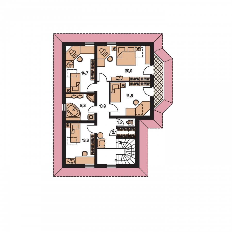 Pôdorys Poschodia - Elegantný dom s podkrovím