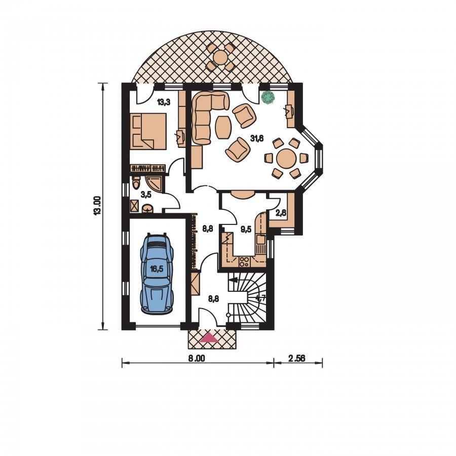 Pôdorys Prízemia - Elegantný dom s podkrovím
