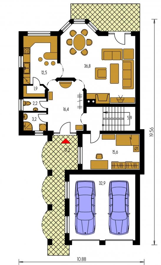 Pôdorys Prízemia - Veľký rodinný dom so suterénom