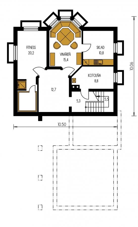 Pôdorys Suterénu - Veľký rodinný dom so suterénom