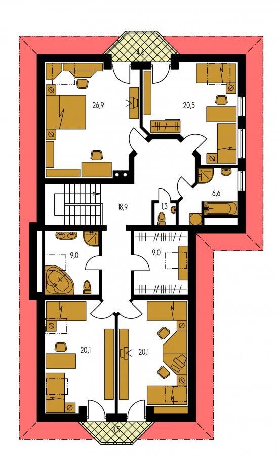 Pôdorys Poschodia - Veľký rodinný dom so suterénom