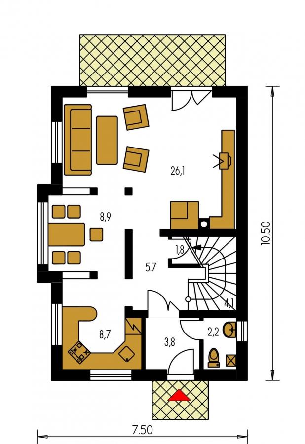 Pôdorys Prízemia - 4-izbový domček vhodný na úzky pozemok