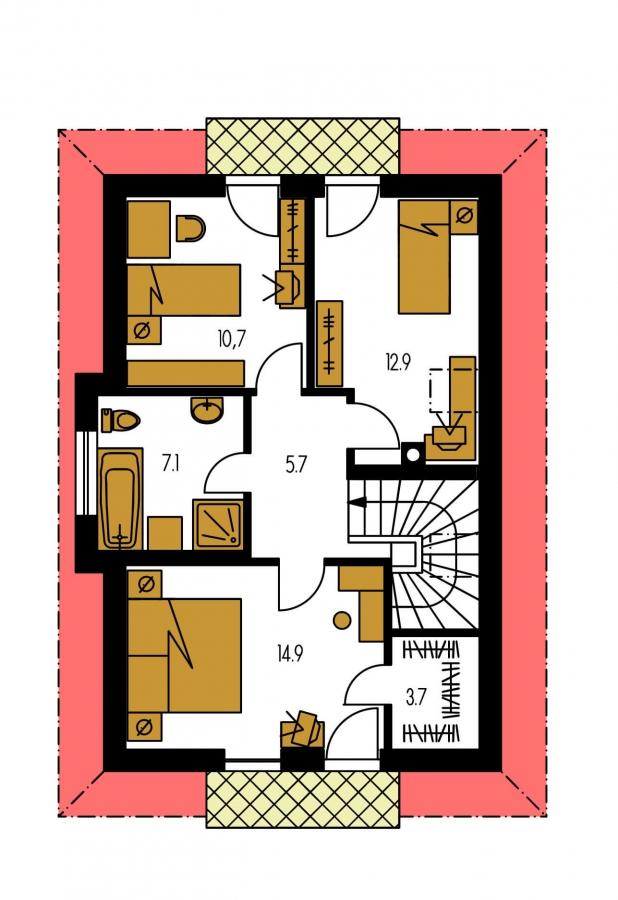 Pôdorys Poschodia - 4-izbový domček vhodný na úzky pozemok
