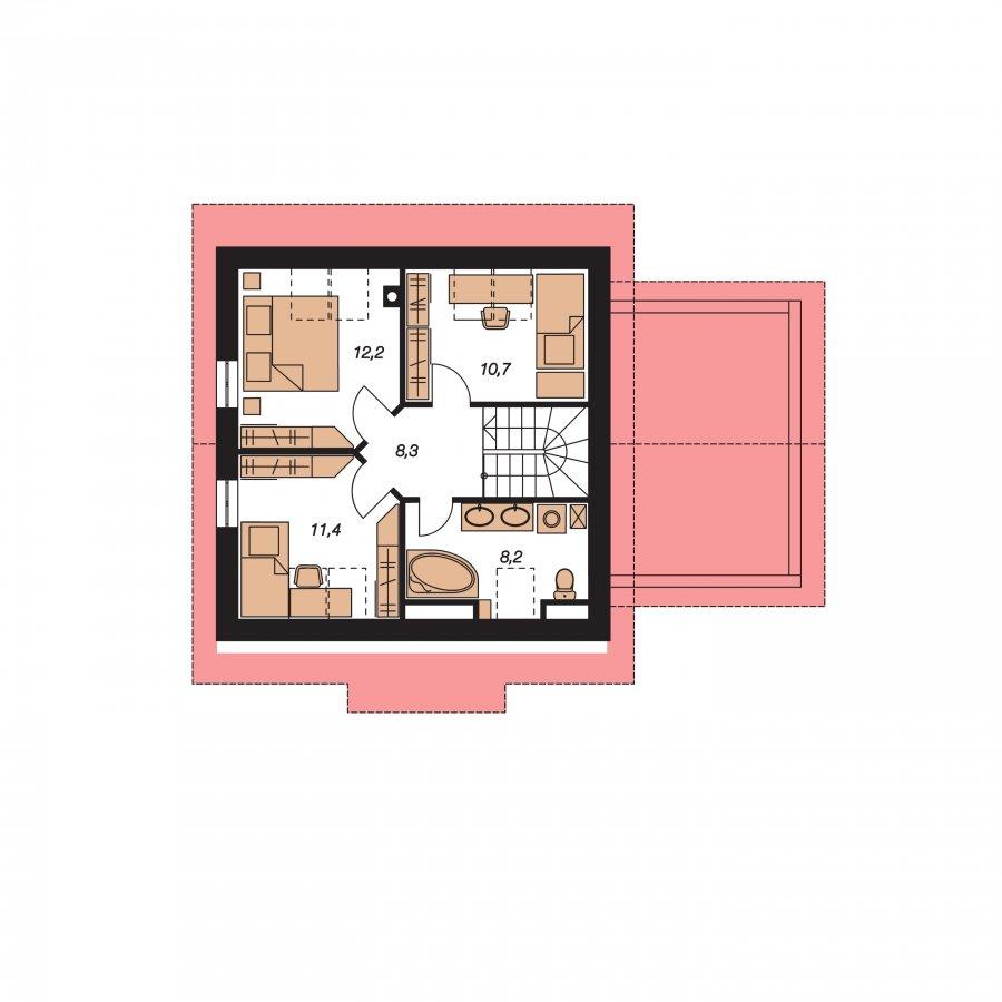 Pôdorys Poschodia - Malý rodinný dom s garážou