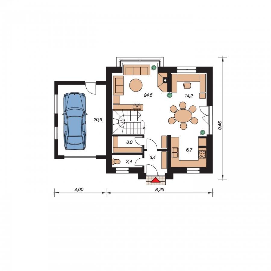 Pôdorys Prízemia - Malý rodinný dom s garážou