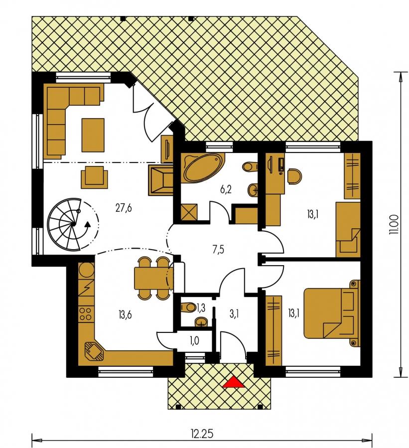 Pôdorys Prízemia - Čiastočne podkrovný menší dom