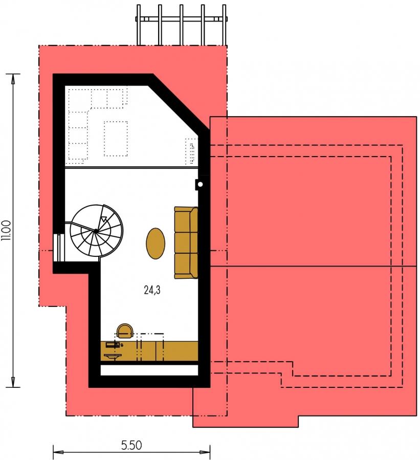 Pôdorys Poschodia - Čiastočne podkrovný menší dom