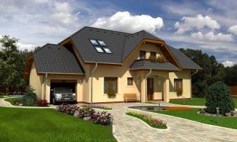 Väčší dom s garážou a polvalbovou strechou