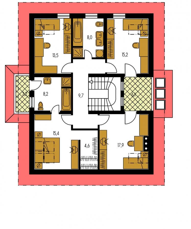 Pôdorys Poschodia - Väčší dom so suterénom, garážou a polvalbovou strechou.