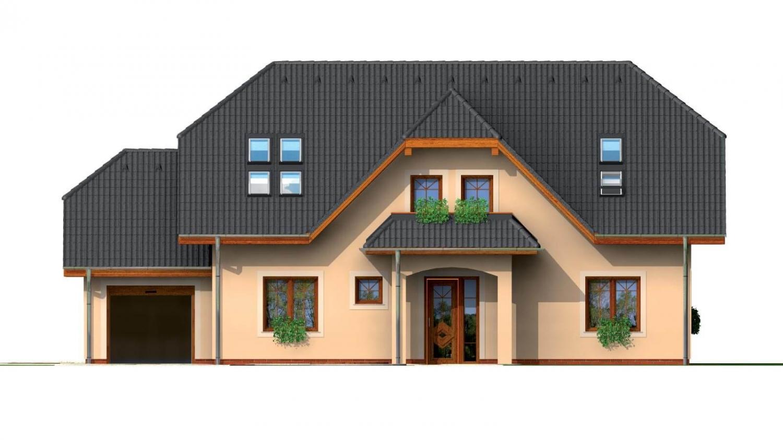 Pohľad 1. - Väčší dom so suterénom, garážou a polvalbovou strechou.