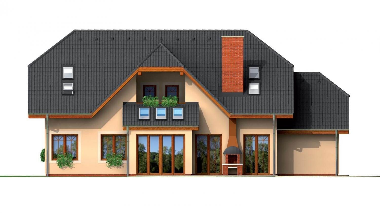Pohľad 3. - Väčší dom so suterénom, garážou a polvalbovou strechou.