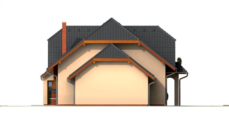 Pohľad 4. - Väčší dom so suterénom, garážou a polvalbovou strechou.