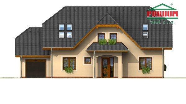 Pohľad 1. - Väčší dom s polvalbovou strechou