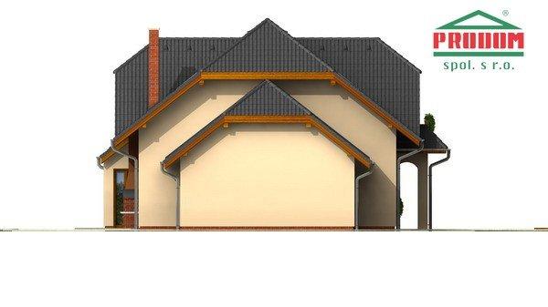 Pohľad 2. - Väčší dom s polvalbovou strechou