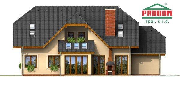 Pohľad 3. - Väčší dom s polvalbovou strechou