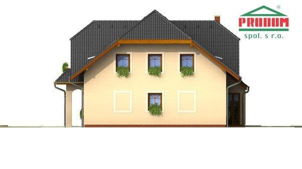 Pohľad 4. - Väčší dom s polvalbovou strechou