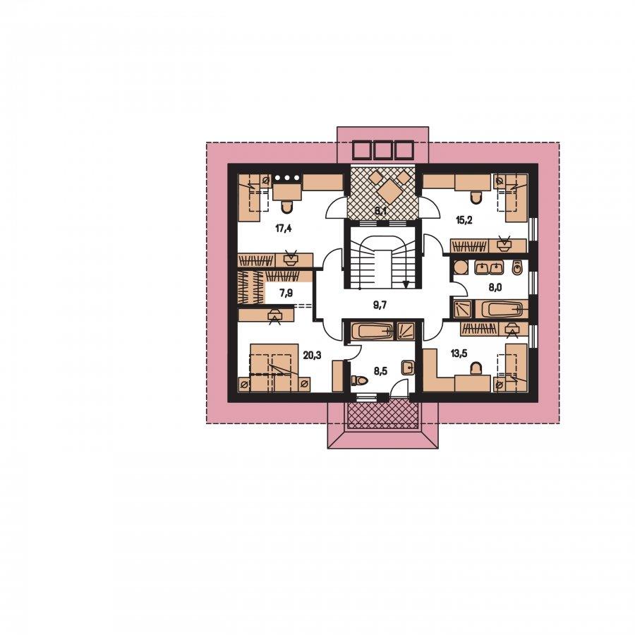 Pôdorys Poschodia - Väčší dom s polvalbovou strechou