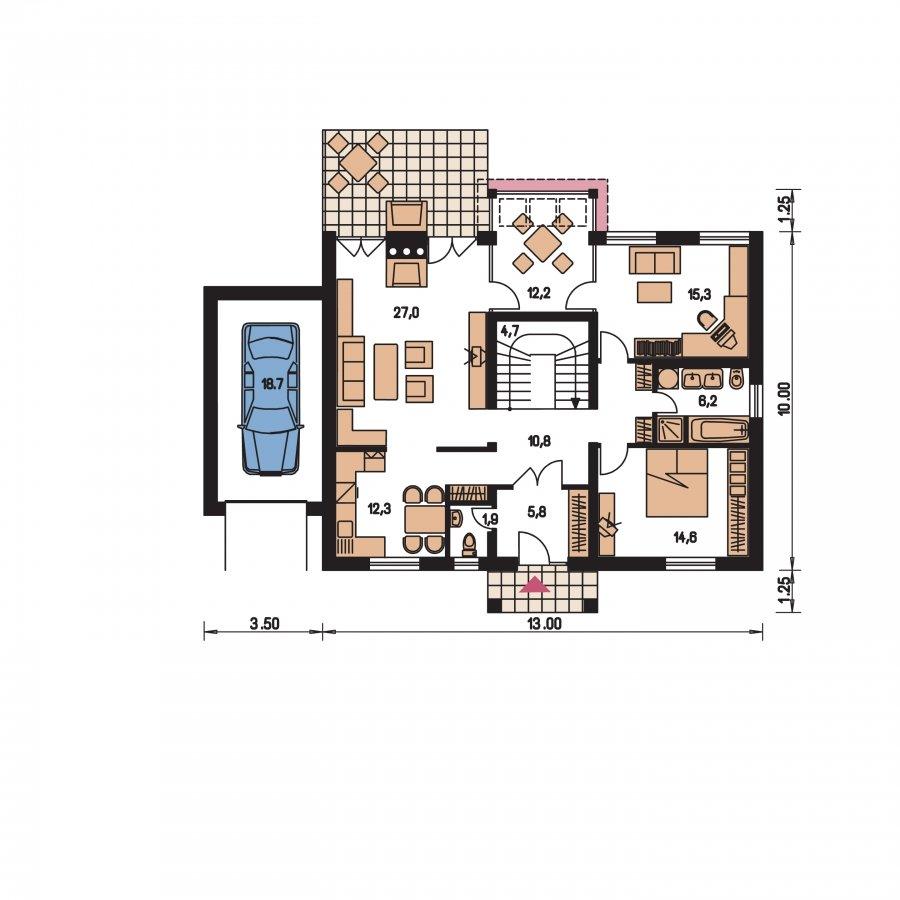 Pôdorys Prízemia - Väčší dom s polvalbovou strechou