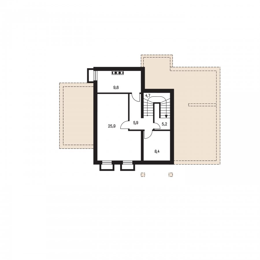 Pôdorys Suterénu - Väčší dom s polvalbovou strechou