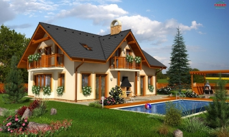 Dom so sedlovou strechou a vikiermi