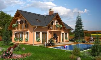 Dom so sedlovou strechou ,vikiermi a suterénom