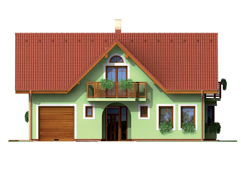 Pohľad 1. - Dom so sedlovou strechou ,vikiermi a suterénom