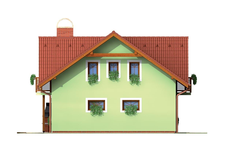 Pohľad 2. - Dom so sedlovou strechou ,vikiermi a suterénom