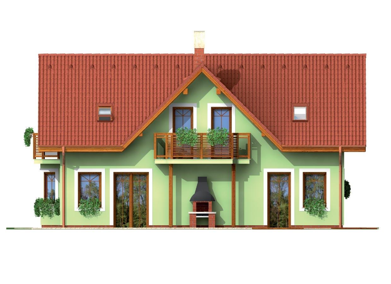Pohľad 3. - Dom so sedlovou strechou ,vikiermi a suterénom