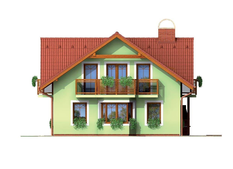 Pohľad 4. - Dom so sedlovou strechou ,vikiermi a suterénom