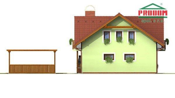 Pohľad 2. - Dom so sedlovou strechou a vikiermi