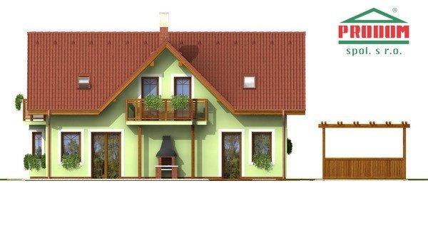 Pohľad 3. - Dom so sedlovou strechou a vikiermi