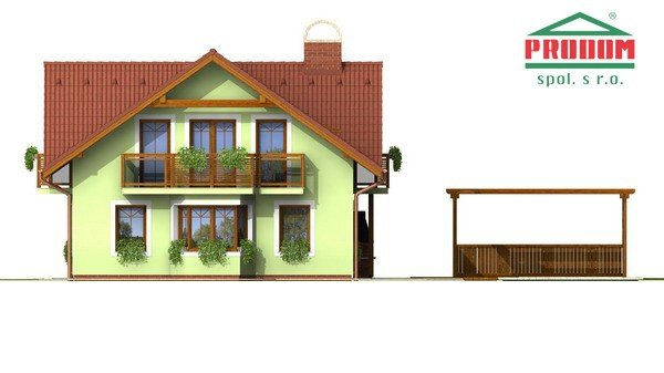 Pohľad 4. - Dom so sedlovou strechou a vikiermi