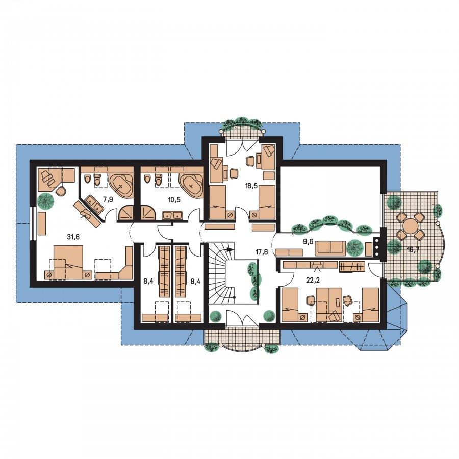 Pôdorys Poschodia - Veľký exkluzívny rodinný dom
