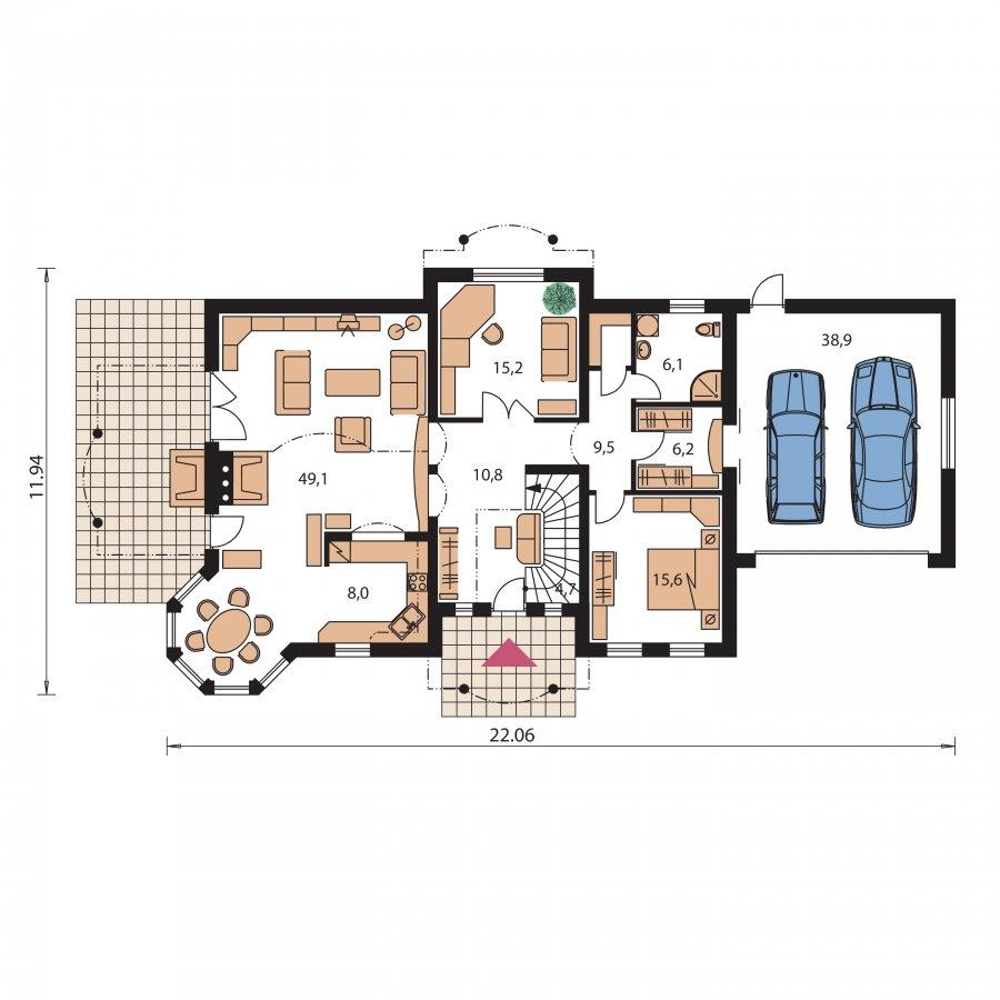 Pôdorys Prízemia - Veľký exkluzívny rodinný dom