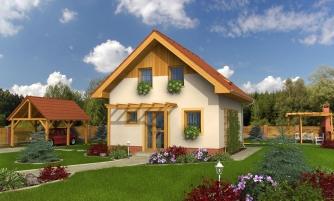 Malý lacný poschodový projekt domu so sedlovou strechou.