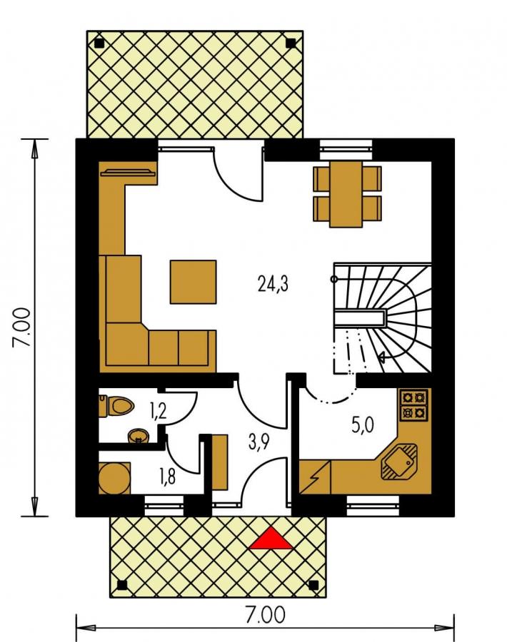 Pôdorys Prízemia - Malý lacný poschodový projekt domu so sedlovou strechou