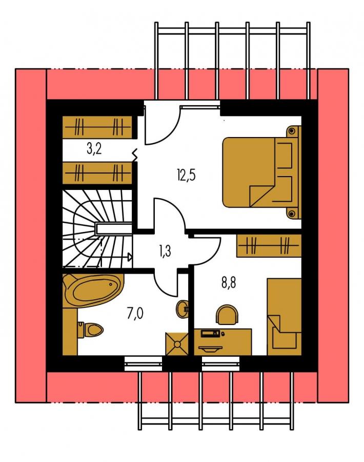 Pôdorys Poschodia - Malý lacný poschodový projekt domu so sedlovou strechou