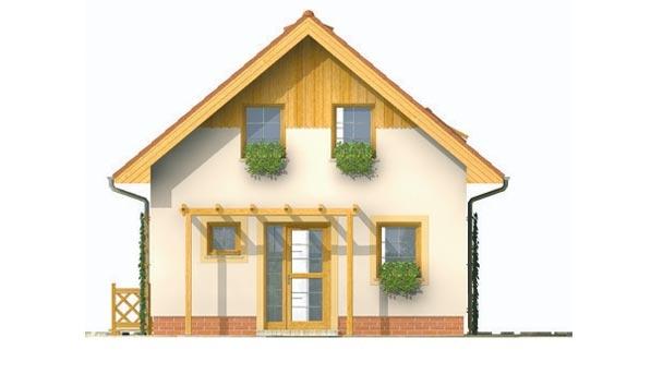Pohľad 1. - Malý lacný poschodový projekt domu so sedlovou strechou